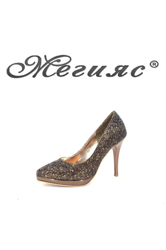 0519 Дамски обувки бакър брокат елегантни на висок ток