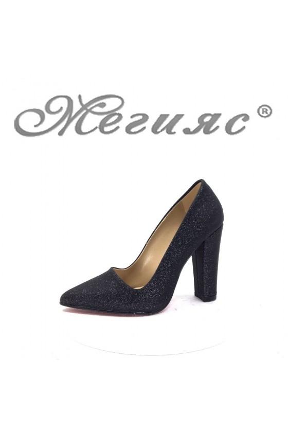 702 Дамски елегантни обувки черни ситен брокат