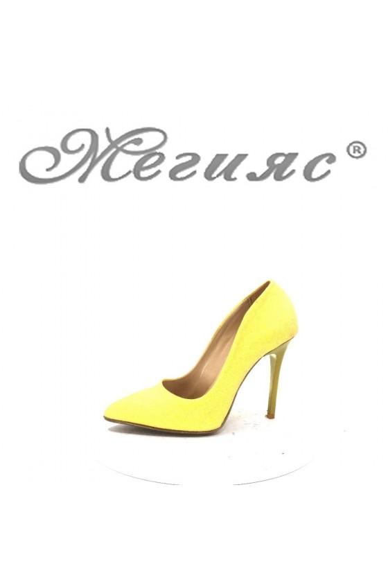 5596 Дамски елегантни обувки жълти брокат