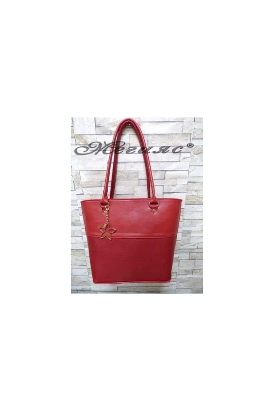 294 Дамска чанта червена от еко кожа