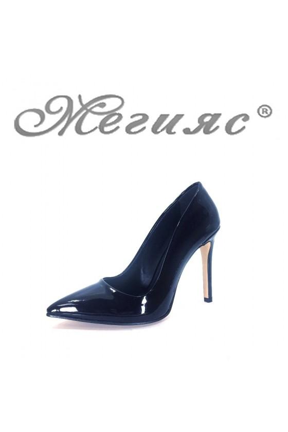 5870 Дамски елегантни обувки черни лак на висок ток