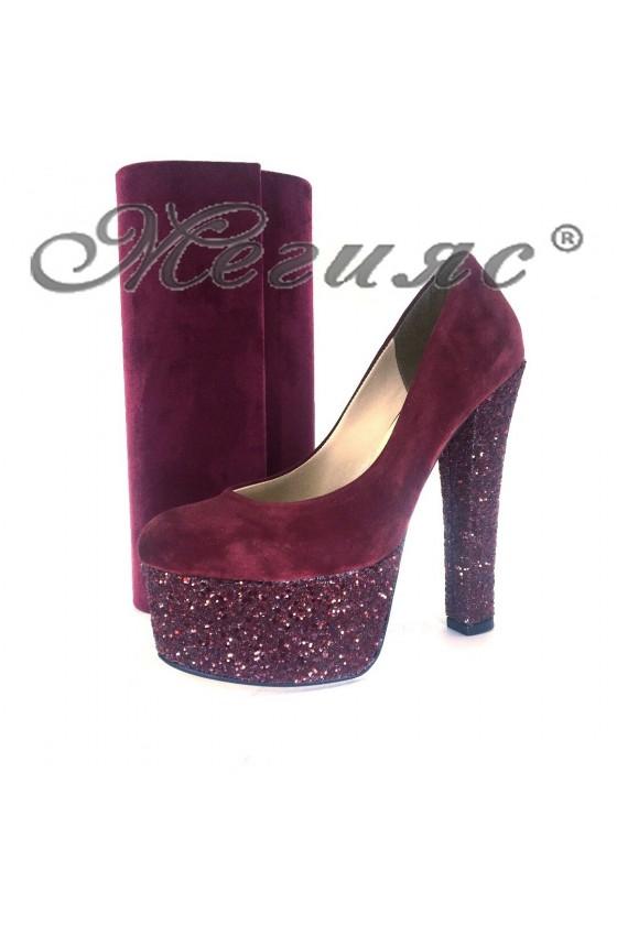 0886 Дамски елегантни обувки цвят бордо с чанта 373
