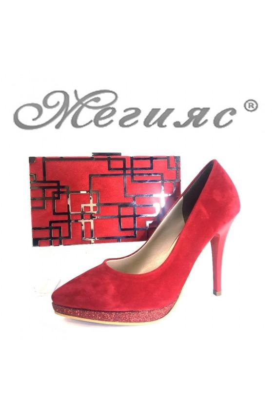 0519 Дамски обувки червени велур комплект с чанта 351