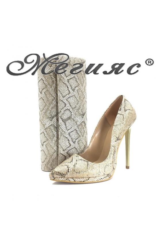 00500 Комплект дамски обувки текстил брокат змия с чанта 373