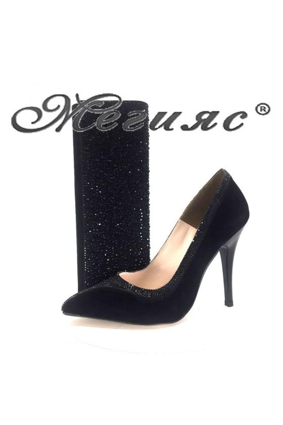 006601 Комплект дамски обувки черен велур с чанта 121