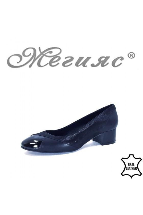 34-72-1-5 XXL Дамски обувки черни от естествена кожа на среден ток