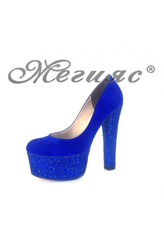 00886 Дамски елегантни обувки сини от велур