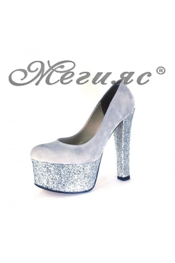 00886 Дамски елегантни обувки сиви от велур