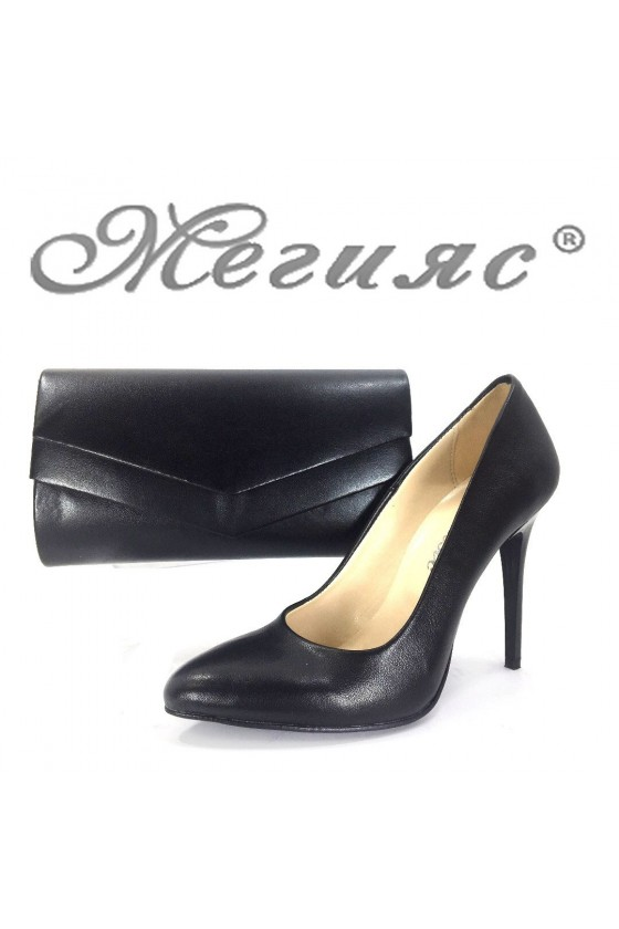 162 Дамски обувки черни кожа с чанта 512