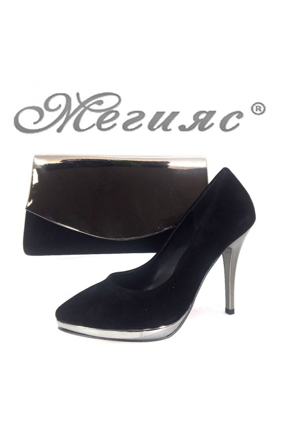 0519 Дамски обувки черен велур с графит с чанта 370