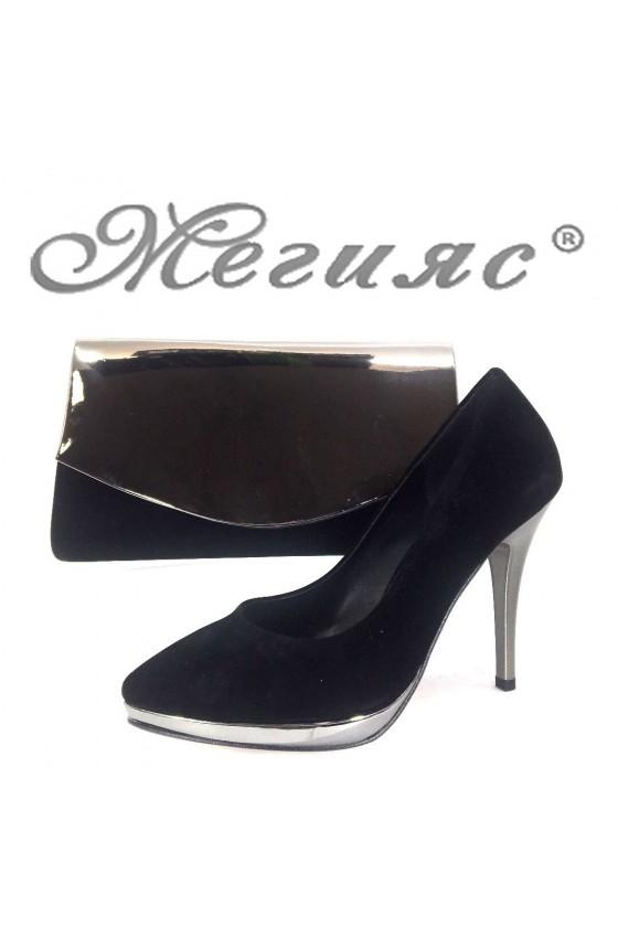 Дамски обувки и чанта комплект черни велур 0519 и 370