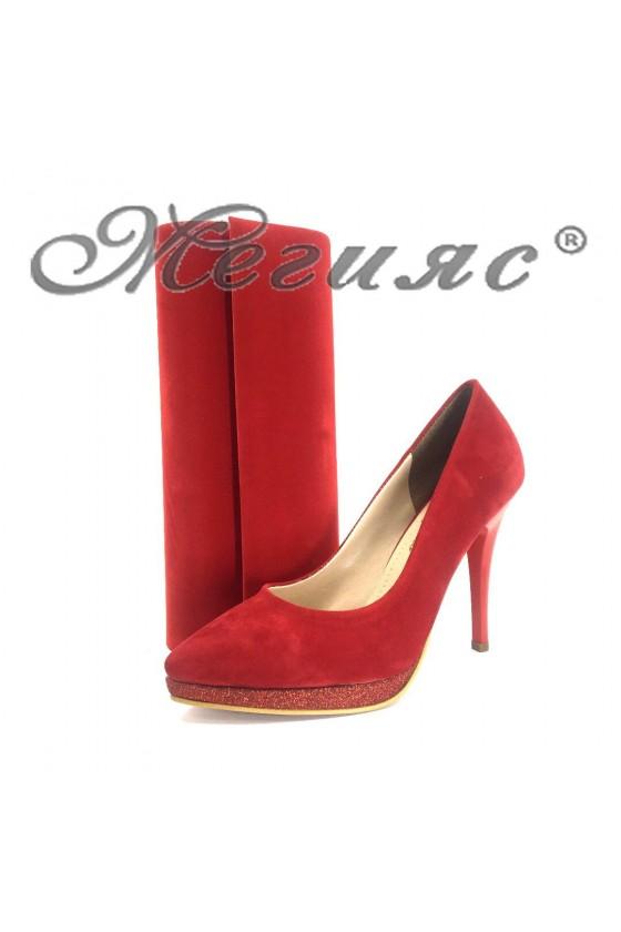 Дамски обувки и чанта комплект червени велур 0519 и 373