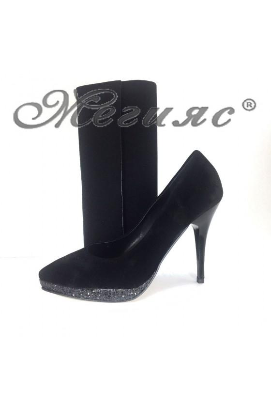 0519 Дамски обувки черен велур с брокат с чанта 373