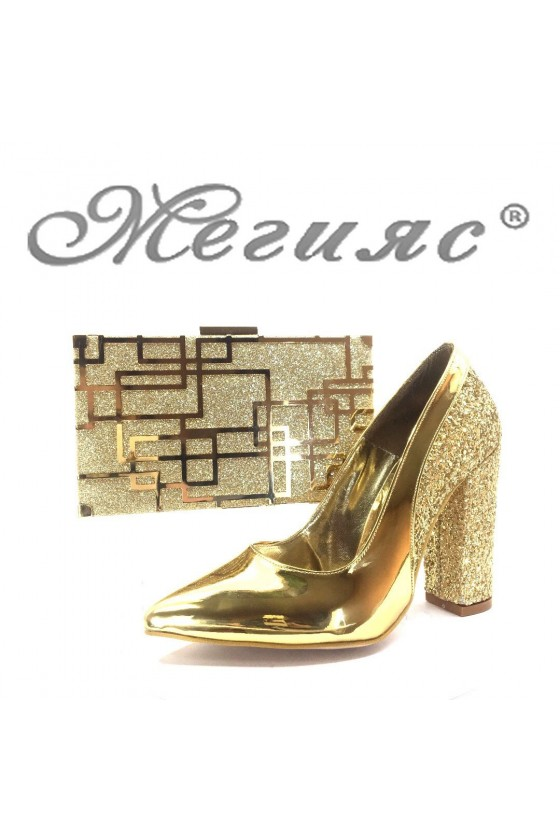 00543 Дамски обувки златисти лак с чанта 351