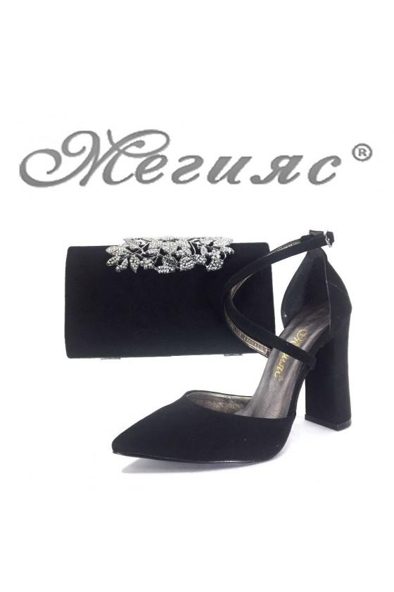 Дамски обувки и чанта комплект черни велур 547 и 346