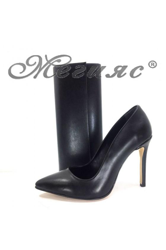 5870 Дамски елегантни обувки черни мат с чанта 373