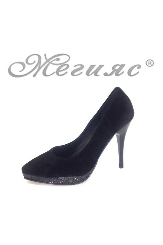 0519 Дамски обувки черни от велур елегантни на ток
