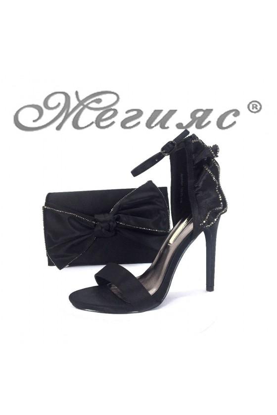 18s20-118 Дамски сандали черни елегантни на висок ток с чанта 118