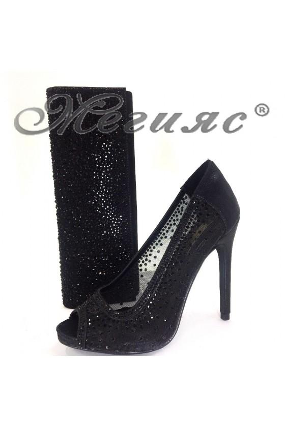 18s20-124 Дамски елегантни обувки черни с чанта 121