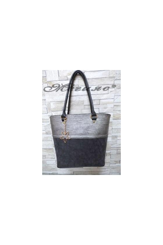 294 Дамска чанта черна със сиво от еко кожа