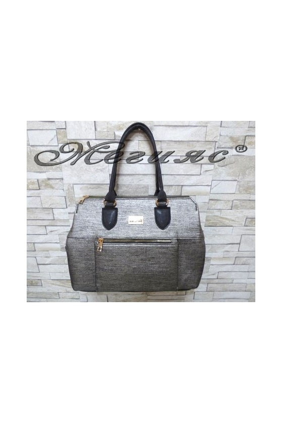 326 Дамска чанта черно със сиво от еко кожа