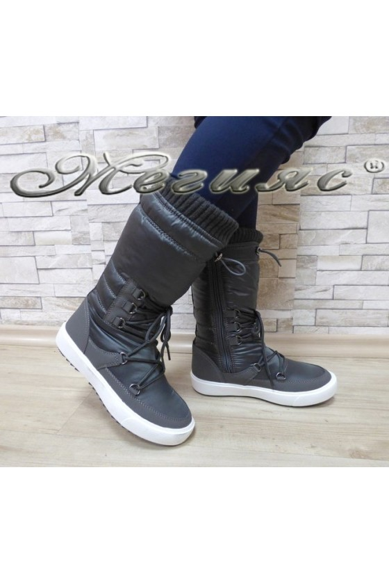 Lady warm boots 18-2778 grey pu+ textiles