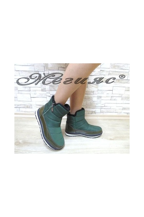 19-1314 Lady warm boots green patent/textiles