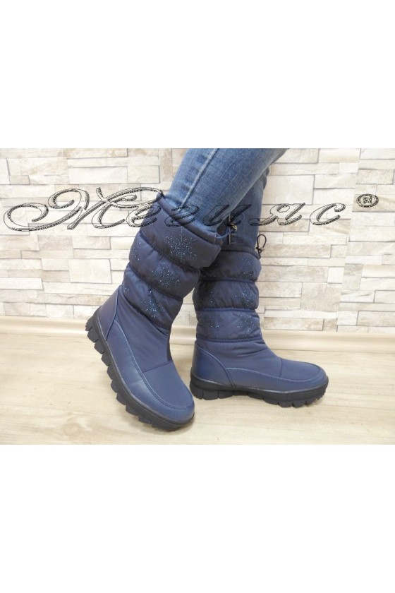 Lady warm boots 18-2772 blue pu+ textiles