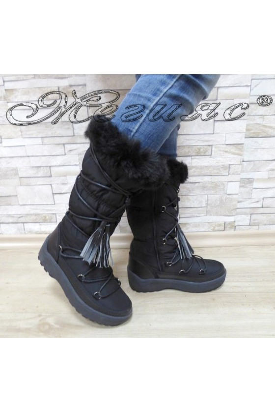 Lady warm boots 18-2774 black pu+ textiles