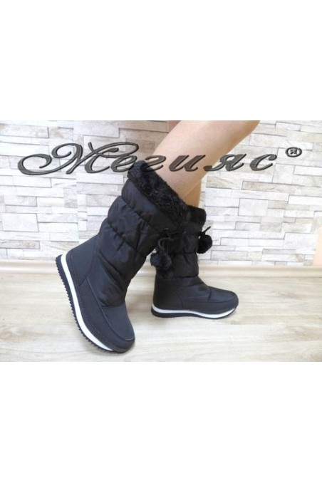 19-1311 Lady warm boots black pu/textiles