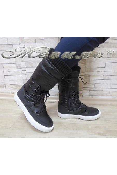 Lady warm boots 18-2778 black pu+ textiles