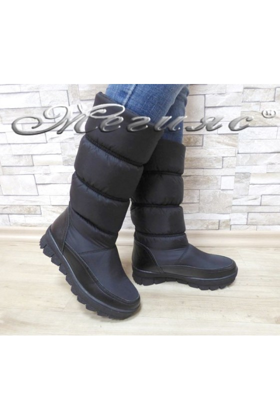 Lady warm boots 18-2769 black leather+ textiles