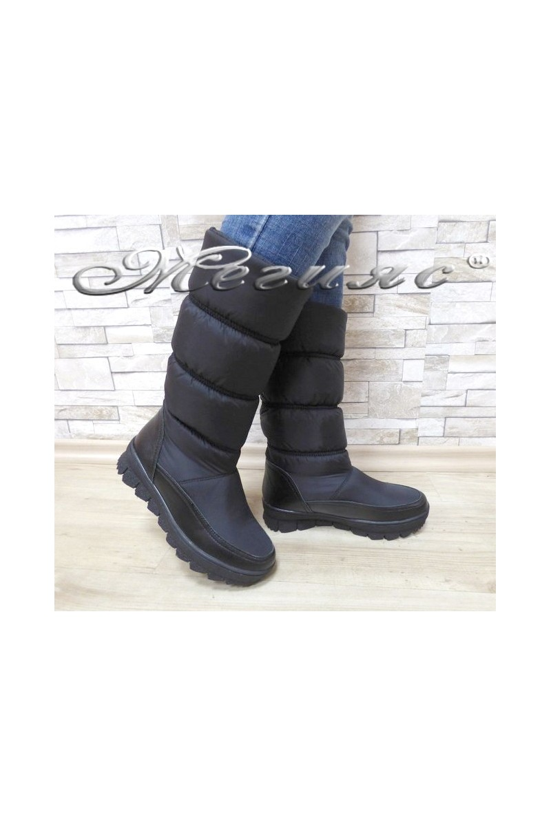 Lady warm boots 18-2769 black leather+ textiles