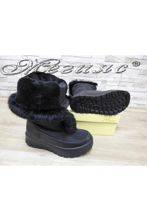 Lady warm boots 18-2345 black leather + textiles