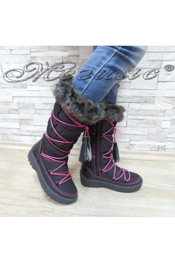 Lady warm boots 18-2774 black/fushia pu+ textiles