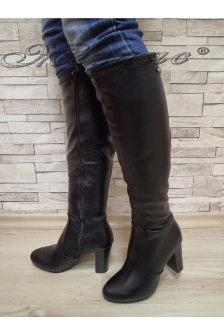 Дамски ботуши Cassie 20W17-52 черни с широк ток от еко кожа