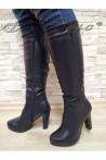 Дамски ботуши 20W17-63 сини от еко кожа с висок ток