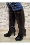 Дамски ботуши 20W17-63 черни от еко кожа с висок ток