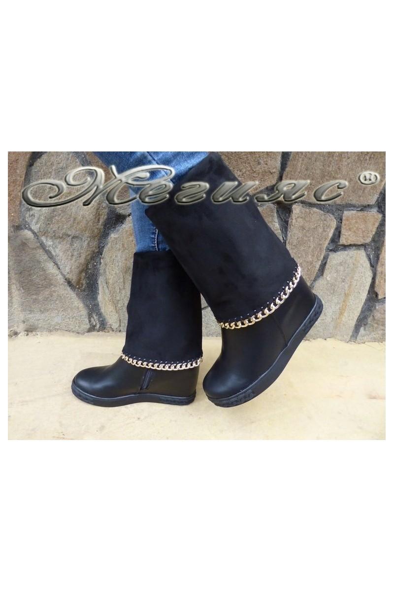 Дамски ботуши Cassie 18-2497 черни от еко кожа със скрита платформа