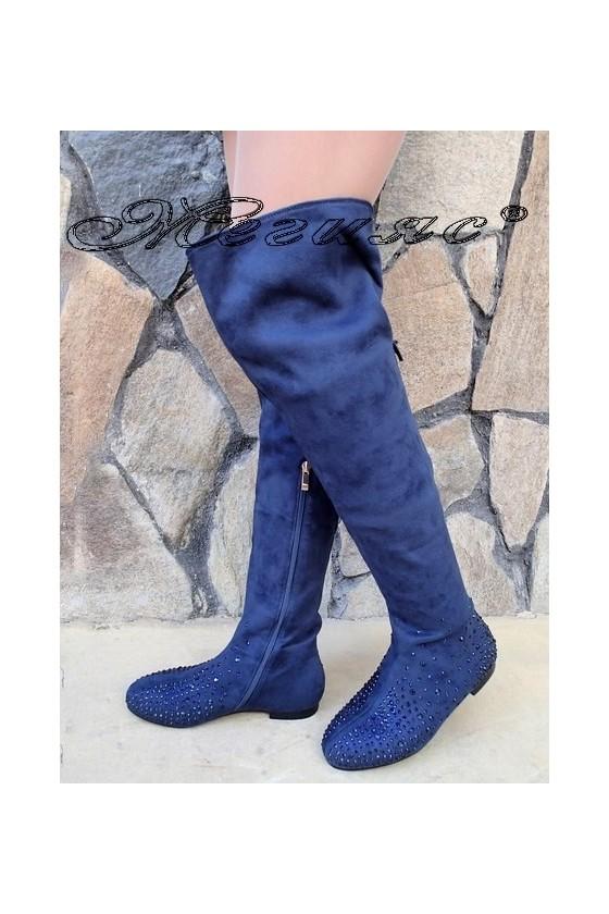 Дамски ботуши Christine 20W17-245 сини от еко велур