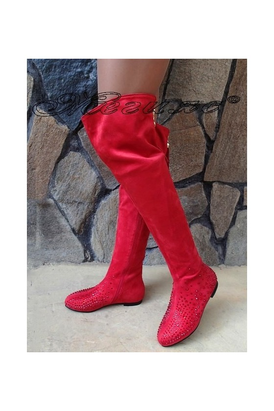 Lady boots Christine 20W17-245 red suede
