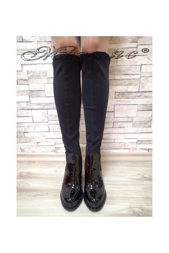 Дамски ботуши Carol 20W17-191 черни текстил с лак с висок ток