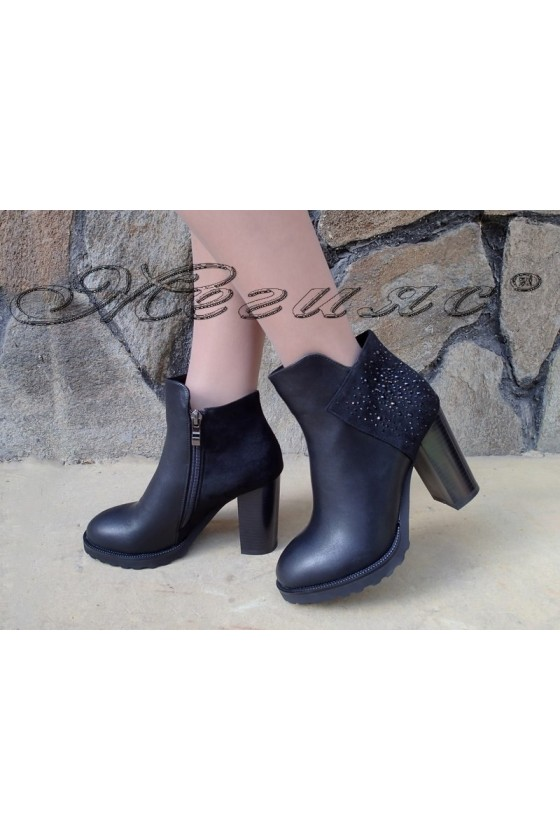 Lady boots Christine 20w18-345 black pu with suede
