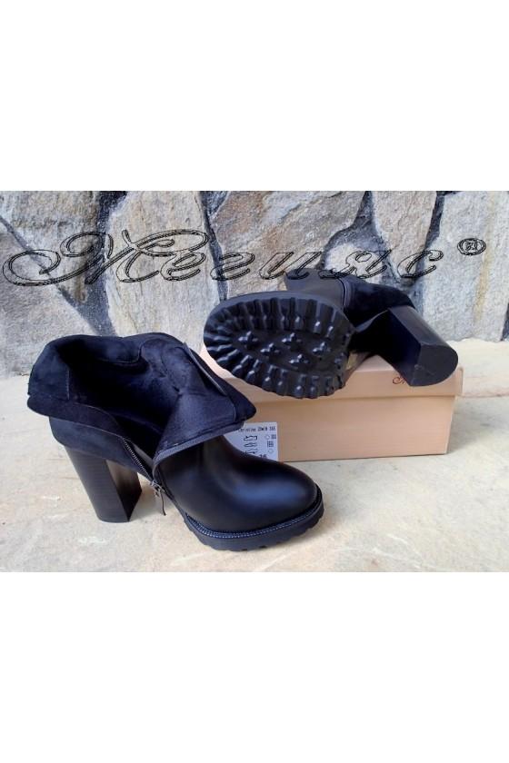 Дамски  боти черни с висок ток от еко кожа и велур Christine 20w18-345
