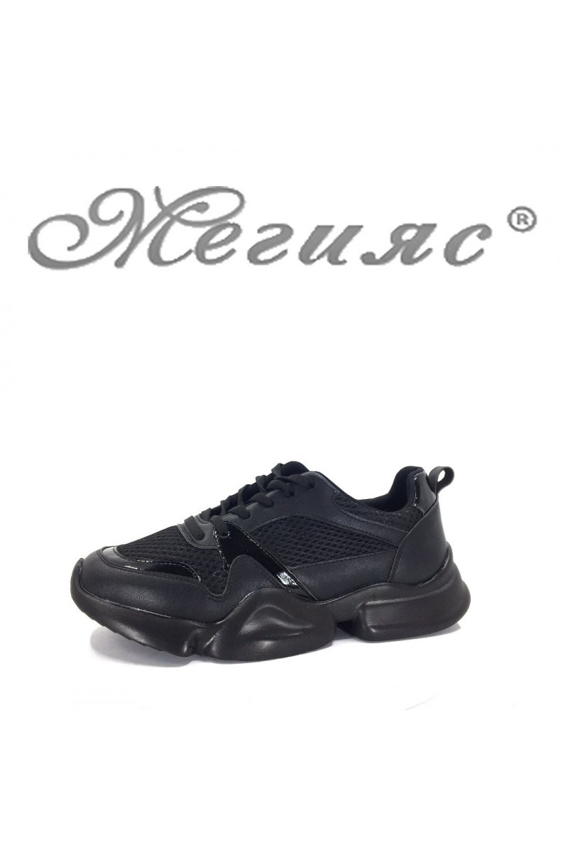 5033 Lady sport shoes black pu