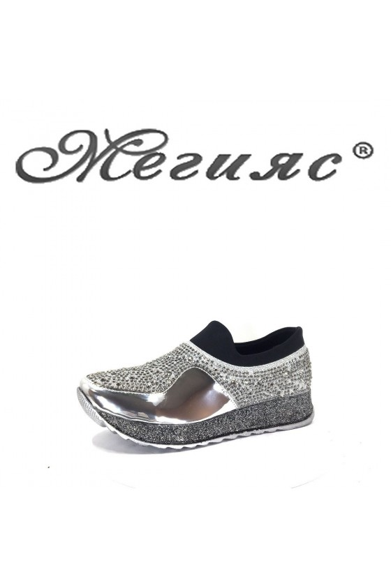 1018 Lady sport shoes silver PU
