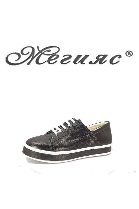 42-20 Дамски спортни обувки графит от еко кожа