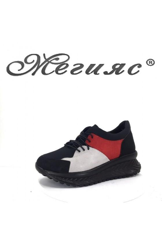 2003-08 Дамски спортни обувки черно с червено тип маратонки