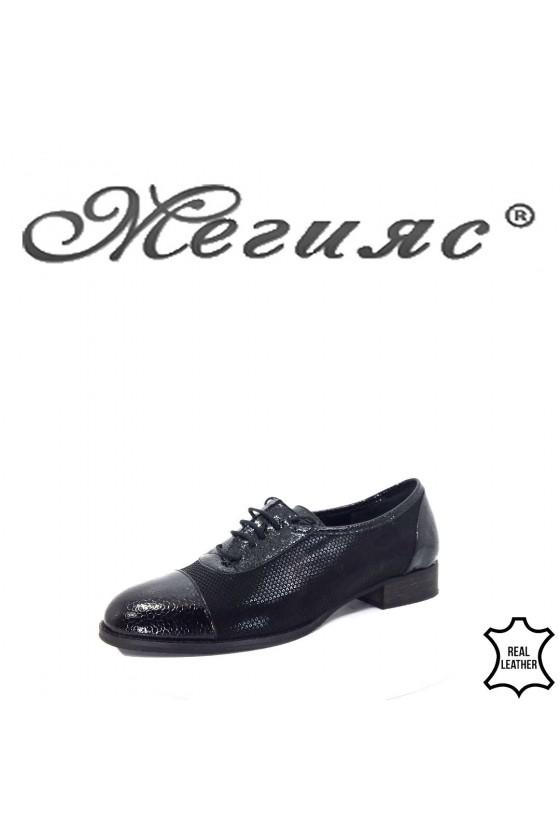 310-72-70 Дамски обувки черни ежедневни от естествена кожа