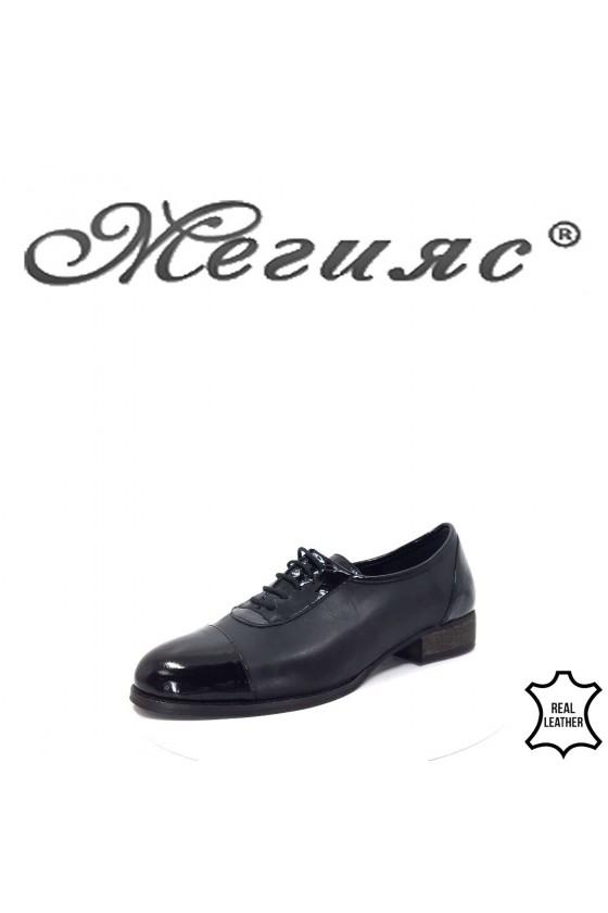 310-1-5 Дамски обувки черни ежедневни от естествена кожа
